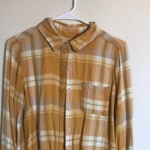 Yellow-orange plaid flannel